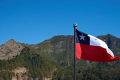 Flag of Chile on Robinson Crusoe Island Stock Photos
