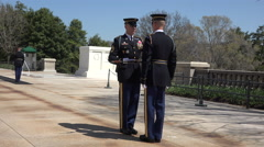 Arlington National Cemetery Change Guard of Honor fast 4K 019 Stock Footage