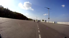 Time lapse. Person rides a bicycle in a city Stock Footage