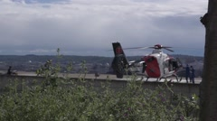 Offloading a Medical Helicopter Stock Footage