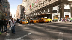 Manhattan street view and Bloomingdales Stock Footage