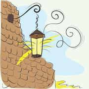 Lantern On The Wall - stock illustration