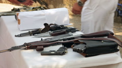 Weapon exhibition, Russian AKM assault rifle, bayonet, military, army Stock Footage
