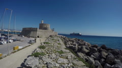 Fort in  Rhodes city port, Dodecanese, Greece. 4K Stock Footage
