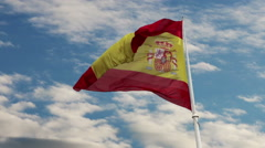 Spain Flag Waving in Blue Cloudscape Sky. Stock Footage