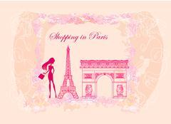 beautiful women Shopping in Paris card - stock illustration