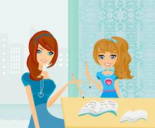 Mom helping her daughter with homework or schoolwork at home. Stock Illustration