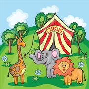 Bright cartoon illustration for children with circus animals Stock Illustration