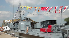 Romanian Navy Day, battleship, rockets launcher, military, forces, parade Stock Footage