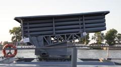 Rockets Launcher, battleship, Romanian navy, Danube river Stock Footage