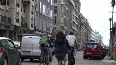 ULTRA HD 4K Traffic street residential district Berlin downtown touristic bus  Stock Footage