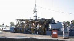 Stock Video Footage of Black Sea, Romania, warship, Ukrainian border, Eastern Europe, navy