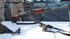 Russian rifle AKM type, exhibition, weapon, firearm stall, event Arkistovideo