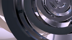 Metal steel circle rotate around Stock Footage