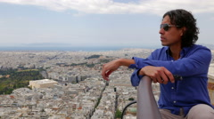 Man Pondering Athens, Greece - stock footage