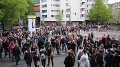 Crowded street in Berlin, Kreuzberg Stock Footage