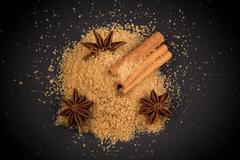 tropical brown sugar, anise, cinnamon - stock photo