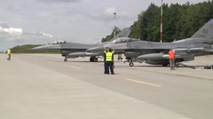 US F16 Aircraft Roll To Parking Position Stock Footage