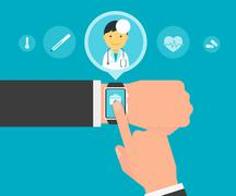 Smart wristwatch application for health Stock Illustration