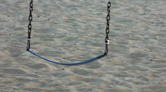 Empty Swing at Beach Playground Stock Footage