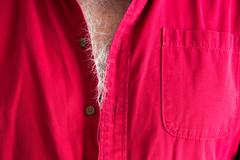 Signs of aging - grey hairs on a male chest Stock Photos