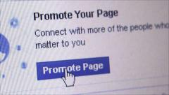 "'Promote Facebook Page"": Social Media Macro Close Up Stock Footage"