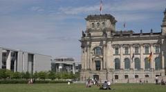 Stock Video Footage of ULTRA HD 4K Pan right Bundestag building tourist people relax Berlin landmark