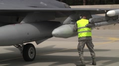 US F16 Aircraft Check Stock Footage