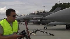 US F16 Aircraft Park Position - stock footage