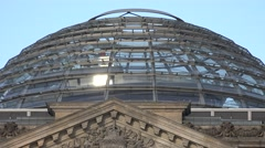 ULTRA HD 4K Tourist people visit glass cupola Berlin parliament landmark iconic Stock Footage