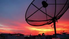 Time lapse shot of satellite communication disk on evening background, 4k Stock Footage