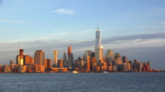 View of Lower Manhattan from Jersey City at sunset. Timelapse Stock Footage