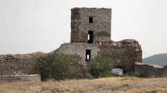 Watchtower, Ancient fortress, Enisala ruins, historic landmark, stone walls Stock Footage