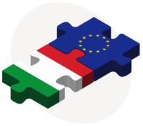 Stock Illustration of Italy and European Union Flags in puzzle