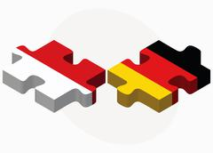 Stock Illustration of Indonesia and Germany Flags in puzzle