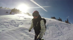 Stock Video Footage of Backcountry Snowboarder Selfie in Colorado Mountains 4k