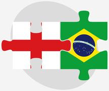 Stock Illustration of England and Brazil Flags in puzzle