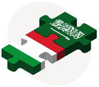 Italy and Saudi Arabia Flags in puzzle Stock Illustration