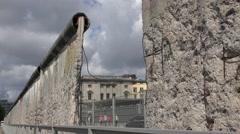 ULTRA HD 4K Berlin Wall hole traffic street car pass people travel landmark icon Stock Footage