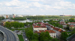 View over Vistula river, Warsaw, Poland Stock Footage