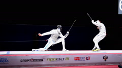 International fencing tournament St. Petersburg Foil 2015 Stock Footage