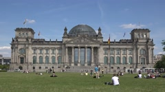 ULTRA HD 4K Tourist people relax Republic square Bundestag Berlin landmark day   Stock Footage