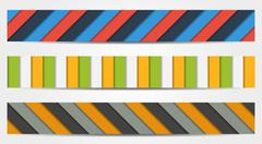Collection of 3 isolated colorful striped full banners Stock Illustration