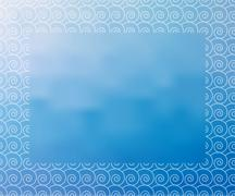 Water background with white waves border - stock illustration