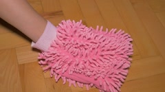 Parquette cleaning with micro fiber glove FullHD 1080p video - Parquette shin Stock Footage