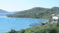 Pan shot from hill of Caribbean island Isla Culebra Stock Footage