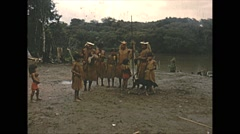 Vintage 16mm film, Amazon native tribe group, 1960s Stock Footage