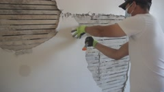 Drywall Constuction Plaster Stock Footage
