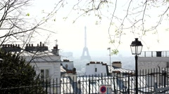 View from the top of Montmartre - The Eiffel Tower Paris Stock Footage