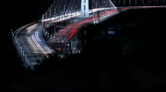 4K SF Bay Bridge Timelapse 02 Night Traffic Tilt Up Stock Footage